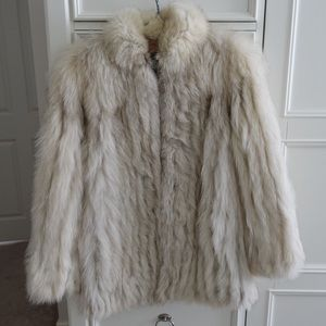 Vintage White Fox Fur Coat Size XS/S